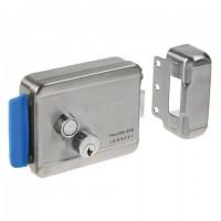 Замок FALCON EYE FE-2369 электромеханический накладной, 3 ключа, кнопка выхода, хромированный, серебро, 00-00010875