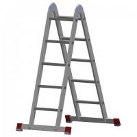 Лестница-трансформер алюминиевая 2х5 ступеней, высота 2,9 м (2 секции по 1,45 м), нагрузка 150 кг, 511205