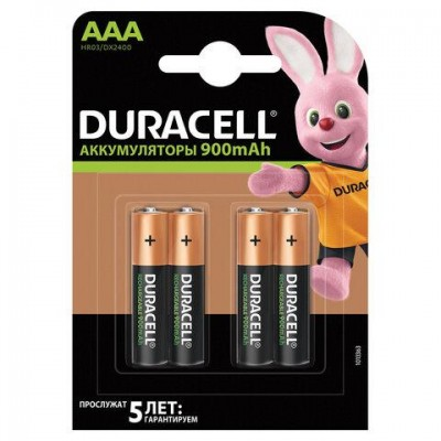 Батарейки аккумуляторные DURACELL, AAA (HR03), Ni-Mh, 900 mAh, КОМПЛЕКТ 4 шт., в блистере, 81546826