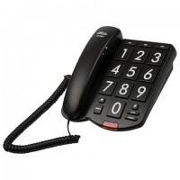 Телефон RITMIX RT-520 black, быстрый набор 3 номеров, световая индикация звонка, крупные кнопки, черный, 15118354
