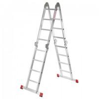 Лестница-трансформер алюминиевая 4х4 ступени, высота 4,5 м (4 секции по 1,2 м) до 150 кг, вес 16,5 кг, НОВАЯ ВЫСОТА, 3320404