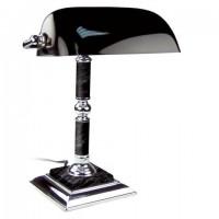 Светильник настольный из мрамора GALANT, основание - черный мрамор с серебристой отделкой, 231489