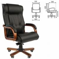 Кресло офисное CH 653, кожа, дерево, черное, 7001203