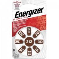 Батарейки для слуховых аппаратов КОМПЛЕКТ 8 шт., ENERGIZER Zinc Air 312, блистер, E301431801
