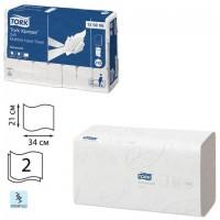 Полотенца бумажные, 136 штук, TORK (Система H2) Advanced, КОМПЛЕКТ 21 штука, 2-слойные, белые, 21х34, Interfold, 120288