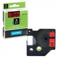 Картридж для принтеров этикеток DYMO D1, 9 мм х 7 м, лента пластиковая, чёрный шрифт, красный фон, S0720720