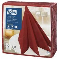 Салфетки бумажные нетканые сервировочные TORK LinStyle Premium, 39х39 см, 50 шт., красные, 478854