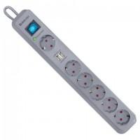 Сетевой фильтр DEFENDER DFS 501, 6 розеток, 2 м, 2 порта USB, 2,1 А, серый, 99051