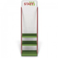 Стойка для размещения товара напольная STAFF, 2050x600x500 мм, 25 крючков, 3 полки, металл, 504876