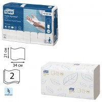 Полотенца бумажные 110 штук, TORK (Система H2) Premium, КОМПЛЕКТ 21 штука, 2-слойные, белые, 21х34, Interfold, 100288