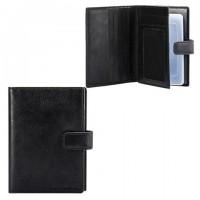"""Бумажник водителя FABULA """"Estet"""", натуральная кожа, тиснение, 6 пластиковых карманов, кнопка, черный, BV.7. MN"""