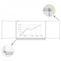 Доска магнитно-маркерная 3-х элементная 100х150/300 см, 5 рабочих поверхностей, белая, BRAUBERG, 231708