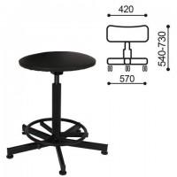 Кресло кассира, ресепшн РС37, без спинки, без подлокотников, кожзам, черное