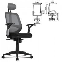"""Кресло BRABIX """"Saturn ER-400"""", с подголовником, комбинированное, черное/серое, 530871"""