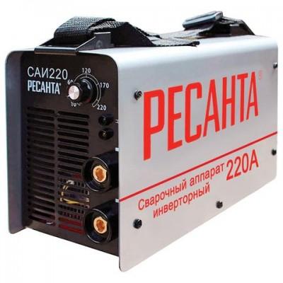 Сварочный аппарат инверторный САИ 220 РЕСАНТА, сварочный ток до 220 А, диаметр электрода до 5 мм, 65/3