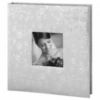 Фотоальбом BRAUBERG свадебный, 20 магнитных листов 30х32 см, обложка под фактурную кожу, на кольцах, серебристый, 390690