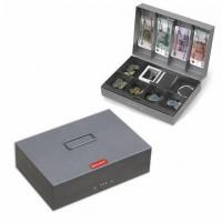 Ящик для денег, ценностей, документов, печатей, 80х195х290 мм, кодовый замок, темно-серый, BRAUBERG, 290457