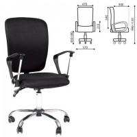 Кресло СН-9801, с подлокотниками, хром, черное, 6043754