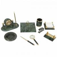 Набор настольный GALANT из мрамора, 9 предметов, зеленый мрамор/золотистые металлические детали, 231194 набор для руководителя