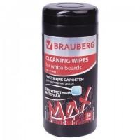 Чистящие салфетки для маркерных досок ПЛОТНЫЕ, туба 60 шт., влажные, BRAUBERG