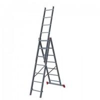 Лестница-трансформер 3-х секционная 3х7 ступеней, 3х1,9 м, высота 4,5 м, нагрузка 150 кг, алюминий, НОВАЯ ВЫСОТА, 1230307