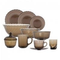 Набор посуды столовый, 44 предмета, дымчатое стекло,