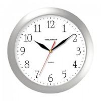 Часы настенные TROYKA 11170113, круг, белые, серебристая рамка, 29х29х3,5 см