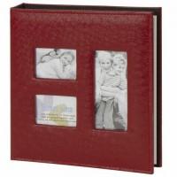 Фотоальбом BRAUBERG на 20 магнитных листов, 23х28 см, обложка под кожу страуса, на кольцах, бордовый, 390692