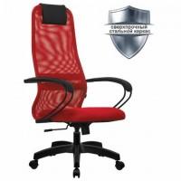 """Кресло офисное МЕТТА """"SU-B-8"""" пластик, ткань-сетка, сиденье мягкое, красное"""