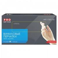 Перчатки виниловые КОМПЛЕКТ 50 пар (100 шт.) неопудренные, размер М (средний), PRO Service Professional, 17201150, SEMP002E