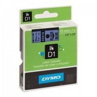 Картридж для принтеров этикеток DYMO D1, 12 мм х 7 м, лента пластиковая, чёрный шрифт, голубой фон, S0720560