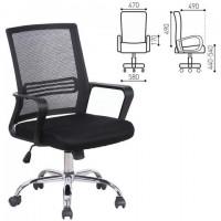 """Кресло BRABIX """"Daily MG-317"""", с подлокотниками, хром, черное, 531833"""