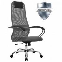 """Кресло офисное МЕТТА """"SU-B-8"""" хром, ткань-сетка, сиденье мягкое, светло-серое"""