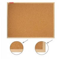 Доска пробковая для объявлений 90х120 см, деревянная рамка, ГАРАНТИЯ 10 ЛЕТ, РОССИЯ, BRAUBERG, 236861