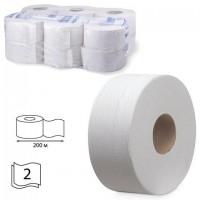 Бумага туалетная 200 м, KIMBERLY-CLARK Scott, КОМПЛЕКТ 12 шт., Performance Jumbo, 2-х слойная, белая, диспенсер 601544, 8512