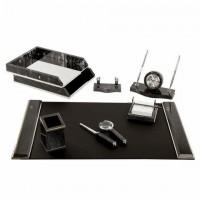 Набор настольный GALANT из мрамора, 8 предметов, черный мрамор/серебристые металлические детали, 231192 набор для руководителя