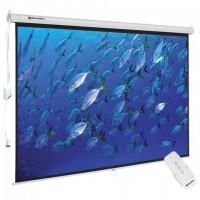 Экран проекционный настенный (180x240 см), матовый, электропривод, 4:3, BRAUBERG MOTO, 236734