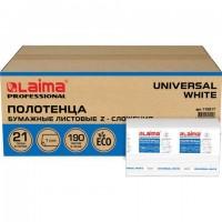 Полотенца бумажные 190 шт., LAIMA (Система H2) UNIVERSAL WHITE, 1-слойные, белые, КОМПЛЕКТ 21 пачка, 22,5х20,5 см, Z-сложения, 112517