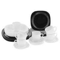 Набор посуды столовый, 30 предметов, черное и белое стекло,
