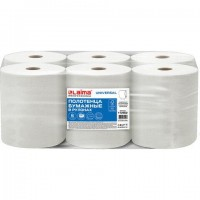 Полотенца бумажные рулонные 200 м, LAIMA (Система H1) UNIVERSAL, 1-слойные, серые, КОМПЛЕКТ 6 рулонов, 112502