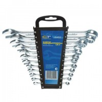 Набор ключей комбинированных 6-22 мм, 12 шт., СИБРТЕХ, CrV, хромированные, держатель с подвесом, 15452