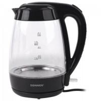 Чайник SONNEN KT-200BK, 1,7 л, 2200 Вт, закрытый нагревательный элемент, стекло, подсветка, черный, 451709