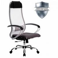 """Кресло офисное МЕТТА """"К-3"""" хром, ткань-сетка, сиденье и спинка регулируемые, темно-серое"""