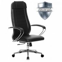 """Кресло офисное МЕТТА """"К-29"""" хром, кожа, сиденье и спинка мягкие, черное"""