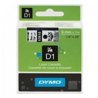 Картридж для принтеров этикеток DYMO D1, 6 мм х 7 м, лента пластиковая, чёрный шрифт, прозрачный фон, S0720770
