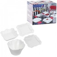 """Набор посуды столовый, 19 предметов, белое стекло, """"Authentic White"""", LUMINARC, E6197"""