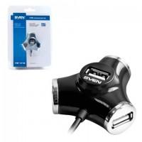 Хаб SVEN HB-012, USB 2.0, 4 порта, кабель 1,2 м, черный, SV-008482
