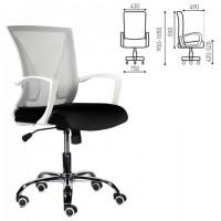 """Кресло BRABIX """"Wings MG-306"""", пластик белый, хром, сетка, серое/черное, 532010"""