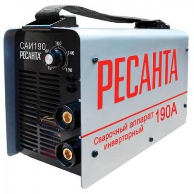 Сварочный аппарат инверторный САИ 190 РЕСАНТА, сварочный ток до 190 А, диаметр электрода до 5 мм, 65/2