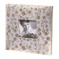 Фотоальбом BRAUBERG свадебный, 20 магнитных листов 30х32 см, под фактурную кожу, бело-золотой, 391126
